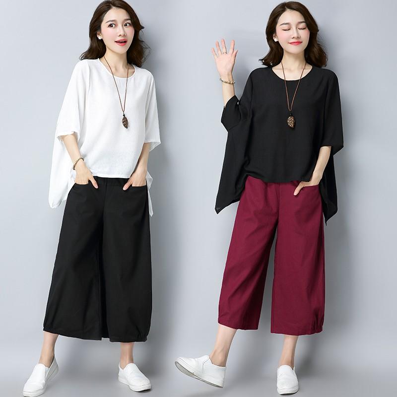 Set đồ thời trang kiểu dáng đơn giản dành cho nữ gồm áo thun cổ tròn và quần lửng ống rộng - 14228593 , 2361787261 , 322_2361787261 , 352100 , Set-do-thoi-trang-kieu-dang-don-gian-danh-cho-nu-gom-ao-thun-co-tron-va-quan-lung-ong-rong-322_2361787261 , shopee.vn , Set đồ thời trang kiểu dáng đơn giản dành cho nữ gồm áo thun cổ tròn và quần lửn
