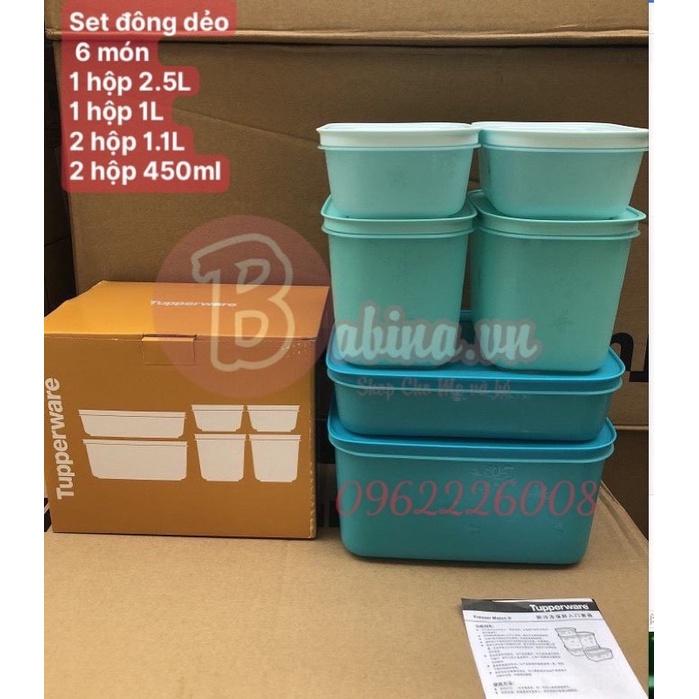(Hàng có sẵn) Set 6 hộp trữ đông Dẻo Gen 2 tupperware, fullbox chính hãng