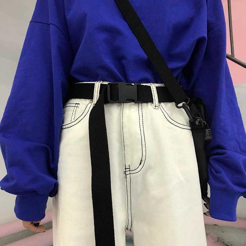 Dây nịt vải canvas màu trơn thời trang Hàn Quốc