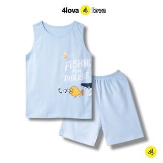 Bộ quần áo sát nách 4LOVA kẻ ngang phối túi cho bé trai và bé gái BT&BG-BSNK