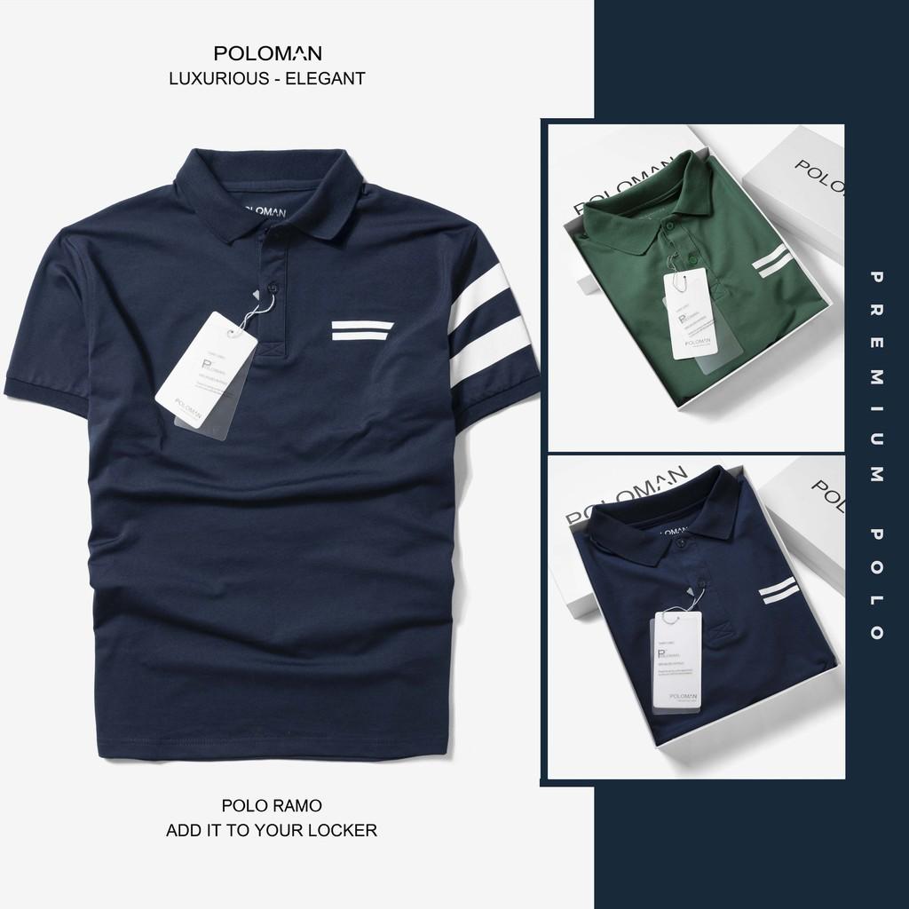 Áo thun Polo nam cổ bẻ Ramo chất vải cá sấu Cotton xuất xịn, chuẩn form 2 màu thanh lịch, trẻ trung P17 - POLOMAN