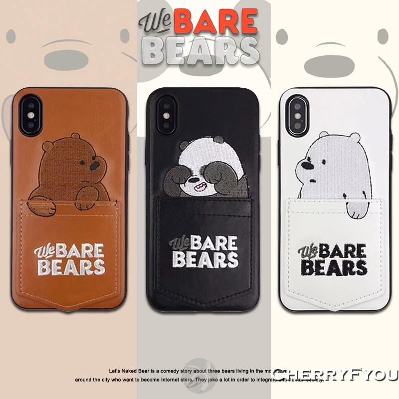 Ốp lưng da PU hoạ tiết We Bare Bears cho IPhone 11 Pro Max 6s 7 8 Plus X XS Max XR
