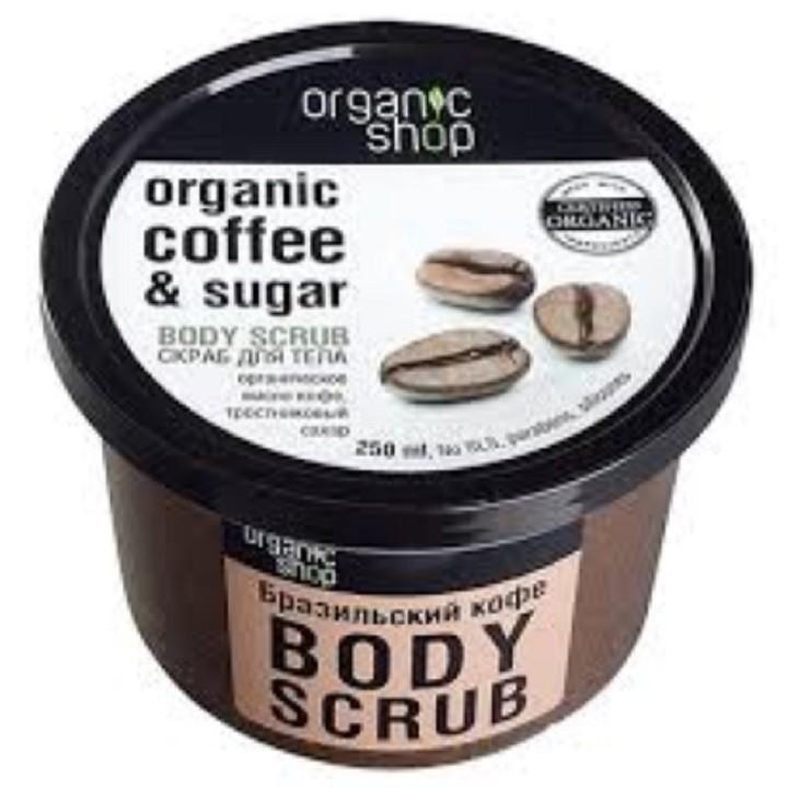 Kem tẩy da chết thân body Organic Shop 250ml chiết xuất Cà phê (dạng hộp)