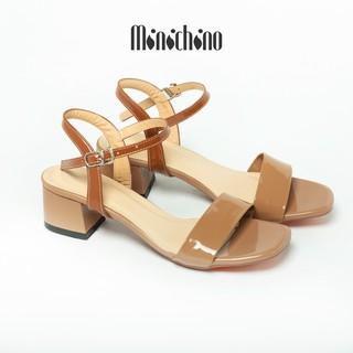 Giày sandal nữ gót cao 5cm MINICHINO giày cao gót đế vuông quai mãnh, phối dây hở mũi thời trang màu kem TC021 thumbnail