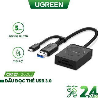 Đầu đọc thẻ USB 3.0 Card Reader Hỗ trợ thẻ TF và SD UGREEN 20203 thumbnail