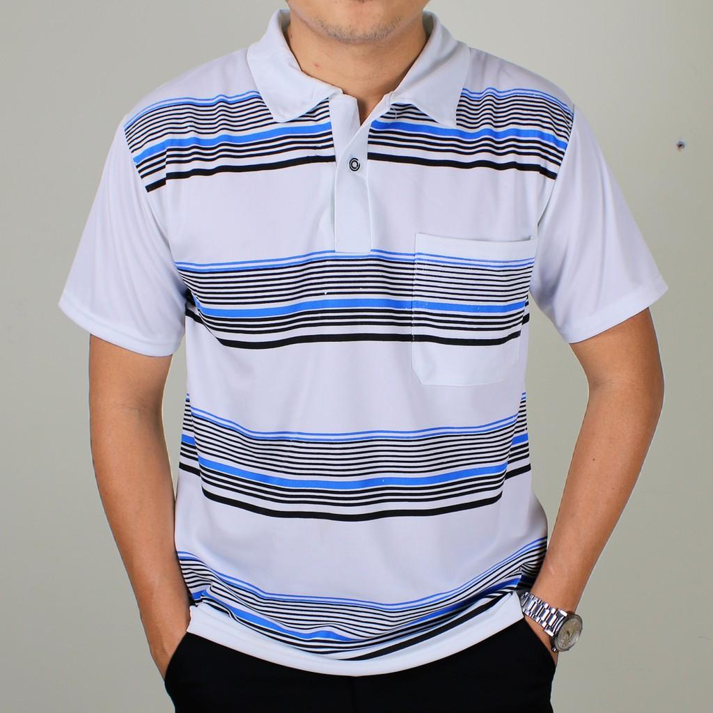 Áo thun nam có cổ trung niên vải mềm mát loại áo thun ngắn tay free size dưới 65kg