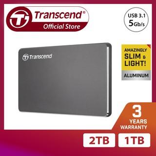 [Mã ELMALL300 giảm 7% đơn 500K] Ổ cứng di động 1 TB cho PC Transcend StoreJet® 25C3 Aluminum design Iron Gray