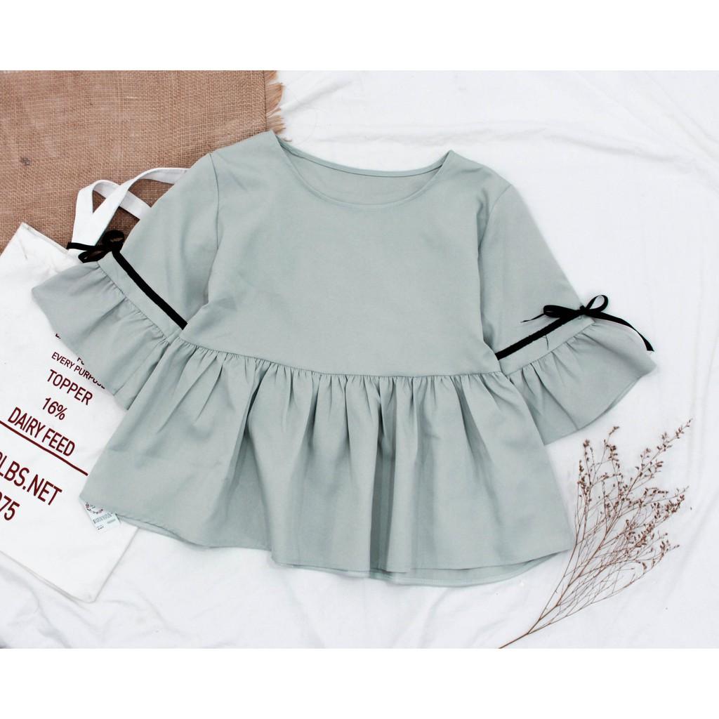 Áo Babydoll Phối Ruy Băng Tay Đủ Màu