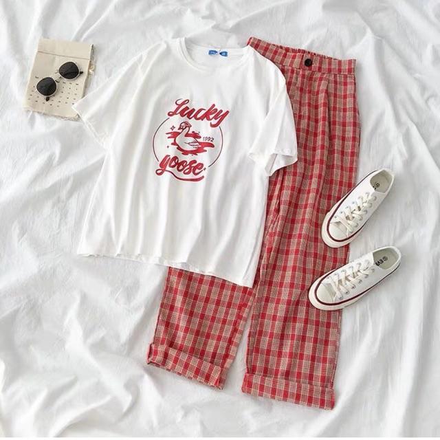 Set đồ quần caro đỏ