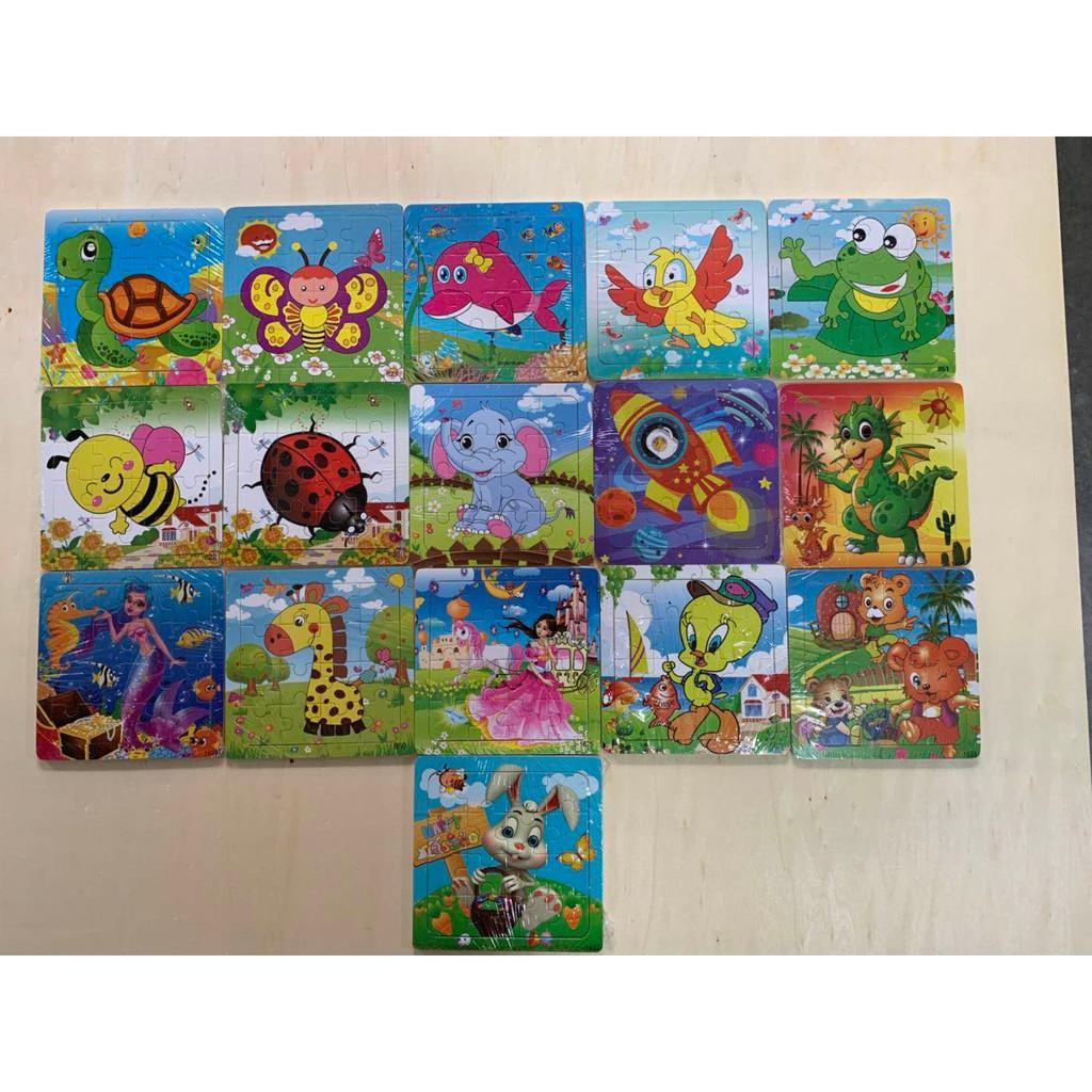 Bộ 10 Tranh 16 Mảnh Xếp Hình Khung Bảng Gỗ Cho Bé 1-5 Tuổi