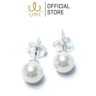 Bông tai bạc nữ nguyên chất 925 QMJ Ngọc duyên dáng đơn giản sang trọng - Q010