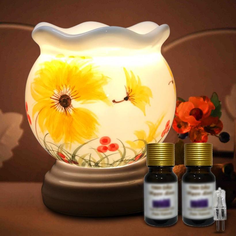 Đèn xông tinh dầu gốm Bát Tràng size trung tặng kèm 2 chai tinh dầu 10ml và  1 bóng đèn dự phòng (chọn mẫu) | Shopee Việt Nam