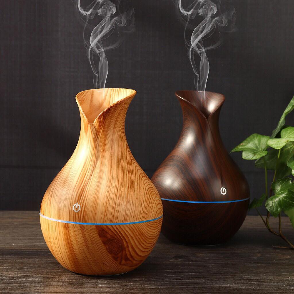 Máy xông tinh dầu vân gỗ hình lọ hoa, Máy khuyếch tán tinh dầu, Đèn xông  hơi tỏa hương, tạo đổ ẩm hiệu quả | Shopee Việt Nam