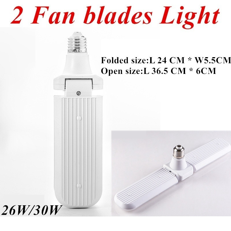 20W/45W Foldable E27 Led Garage Lights 2/3 Fan blades Garage Ceiling LED Shop Lights bulb for Garage Workplace Lighting