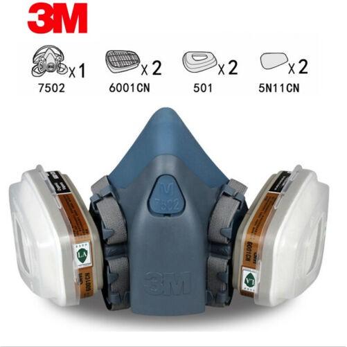 Bộ mặt nạ bảo hộ 3M 7502 phòng khói, hoá chất, lọc bụi siêu mịn PM2.5, gồm 1 mặt nạ, 2 phin lọc, 2 tấm lọc, 2 nắp giữ.