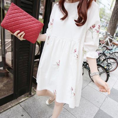 Đầm Bầu Bằng Chất Liệu Cotton Lanh Dáng Rộng Phong Cách Hàn Quốc thumbnail
