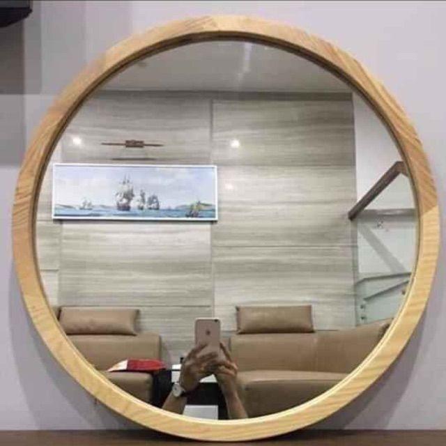 ⚡Xả Kho Thanh Lý⚡ Gương Tròn khung gỗ sồi cao cấp, phong cách hàn quốc.