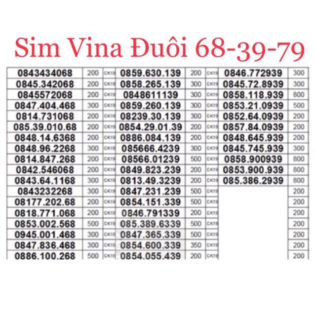 Sim Vina trả trước đuôi 68-39-79