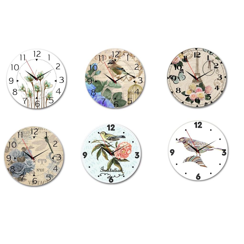 [HCM] Đồng Hồ Gỗ Vintage treo tường xinh xắn - đồng hồ treo tường giá rẻ - tặng kèm đinh 3 chân không cần khoan tường