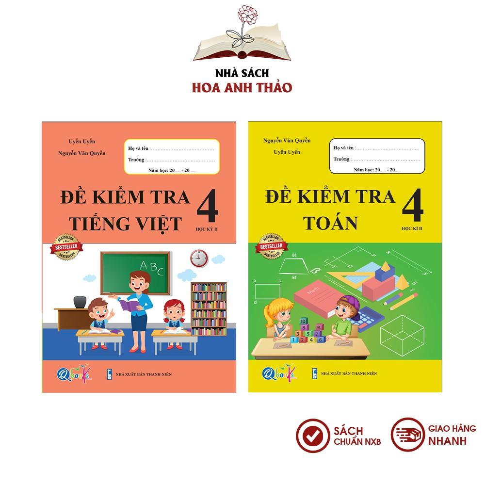 Sách - Đề kiểm tra Toán và Tiếng Việt lớp 4 học kỳ 2 Bộ 2 quyển - Combo 2 quyển