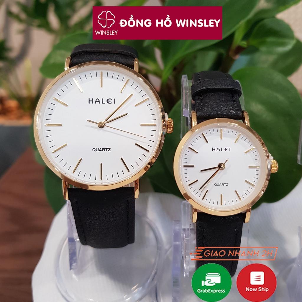 Đồng hồ đôi nam nữ Halei dây da đen mặt số vạch chống nước chống xước tuyệt đối 3atm Tony Watch 68