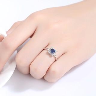 Hình ảnh Nhẫn Bạc Nữ Hình Hoa Bốn Cánh Đính Đá Xanh Lam N-2395-Bảo Ngọc Jewelry-2