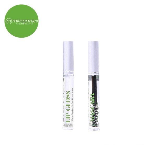 Combo mascara dầu dừa Milaganics 5ml và son dưỡng Lip Gloss dầu dừa Milaganics 5ml