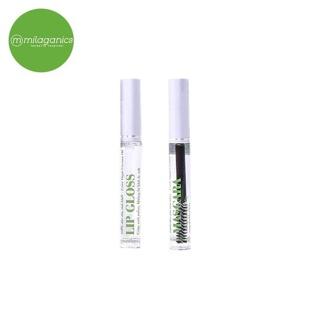 Combo mascara dầu dừa Milaganics 5ml va son dưỡng Lip Gloss dầu dừa Milaganics 5ml