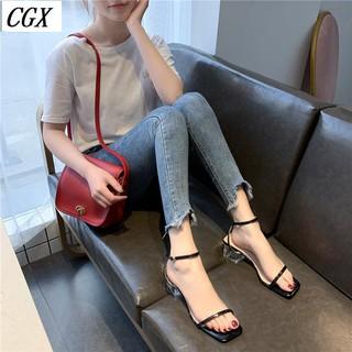 Sale 70% Giày cao gót đế vuông quai ôm cổ chân thời trang, 38/black Giá gốc 363,000 đ - 50B67