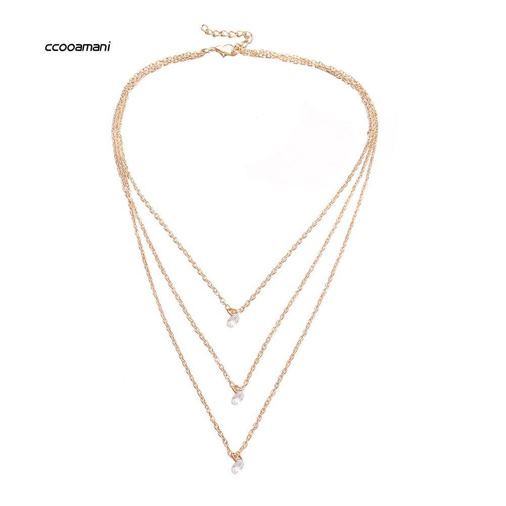 XL-Multi-layer Fashion Party Date Jewelry Women Three Rhinestones Choker Necklace