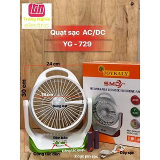QUẠT SẠC SIÊU MÁT AC/DC JOYKALY 729 - ĐÈN LED - 3 chế độ gió