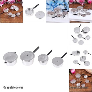 Coagulatepower 4Pcs 1:12 Dollhouse Miniature Metal Mini Pot Set Doll House Kitchen Furnitures
