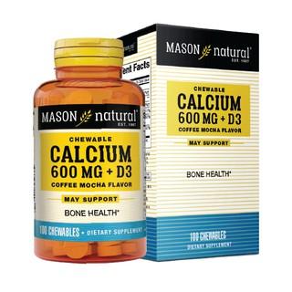 CALCIUM 600MG + D3 (COFFEE MOCHA FLAVORE) Mason – Viên bổ sung canxi, vitamin D3 tăng sức khỏe xương khớp lọ 100 viên