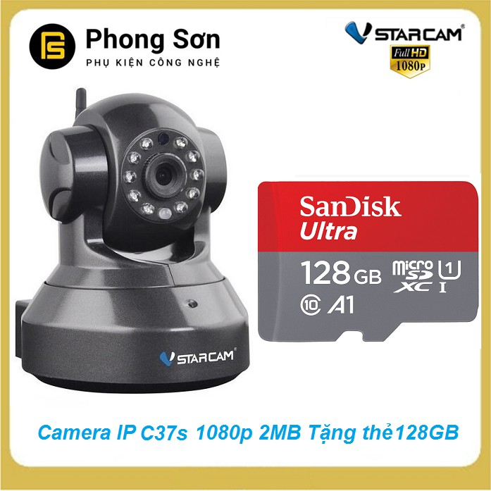 Camera wifi IP Vstarcam C37s Full HD 1080P, Tặng thẻ 128GB - 15400482 , 1594372948 , 322_1594372948 , 1630000 , Camera-wifi-IP-Vstarcam-C37s-Full-HD-1080P-Tang-the-128GB-322_1594372948 , shopee.vn , Camera wifi IP Vstarcam C37s Full HD 1080P, Tặng thẻ 128GB