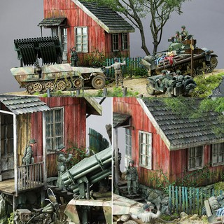 1/35 Scale Dioramas Ruins House Models Kits Wood WW2 Sand Building DIY