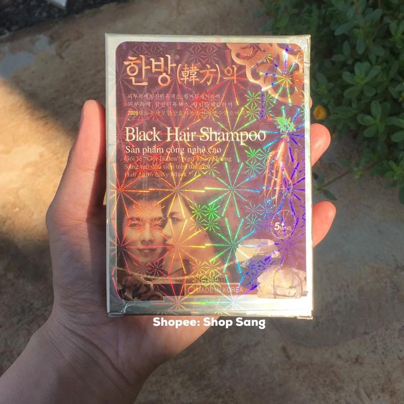 [ Chính Hãng] Dầu gội đen tóc  Black hair shampoo gội là đen Tặng Bao Tay