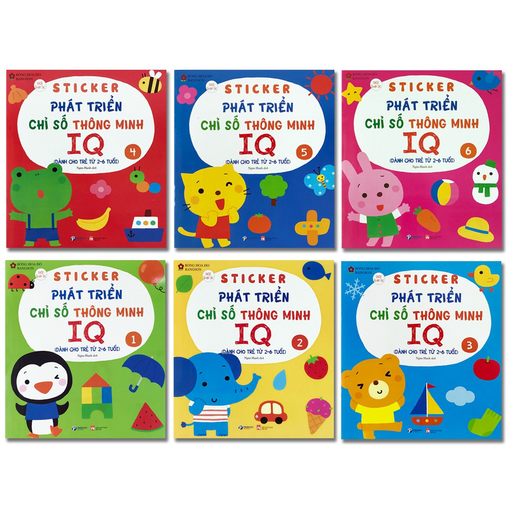 Sách Sticker Phát triển chỉ số thông minh IQ dành cho trẻ 2-6 tuổi (lẻ tùy chọn)