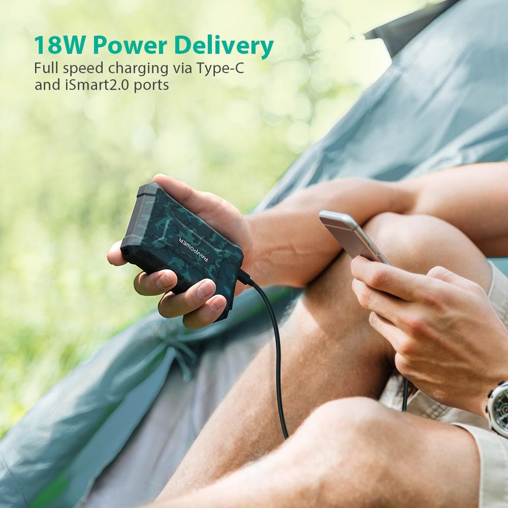 Pin Sạc Dự Phòng RAVPower 10050mAh Cổng In/Out Type C PD 18W QC 3.0, Chống Nước