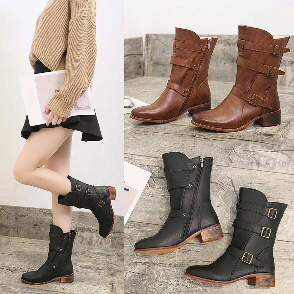 Women Keep Warm Shoes Leather Middle Tube Zipper Boots Round Toe Shoes