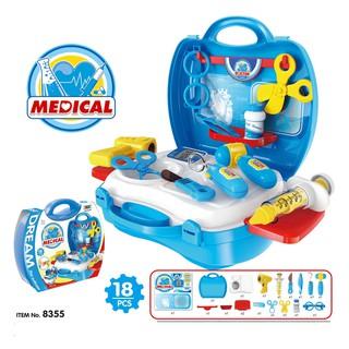 Bộ đồ chơi nhập vai BOWA 8355 - Vali đồ chơi bác sĩ 18 món, có dùng pin