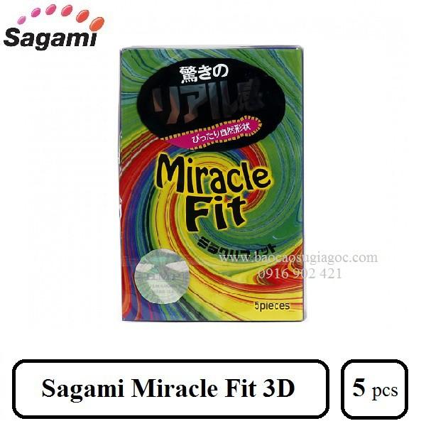 Bao cao su Sagami Miracle Fit 3D (hộp 3 bao)