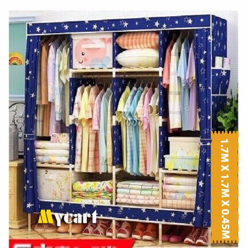 Tủ vải quần áo khung gỗ 4 buồng 8 ngăn cao cấp( xanh đậm)