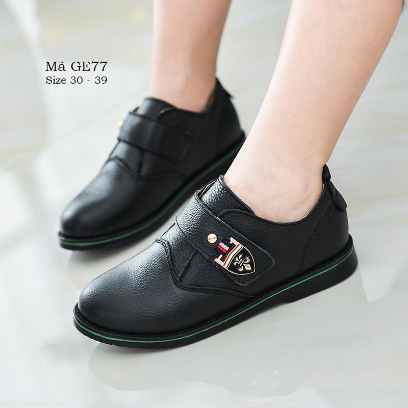 Giày da màu đen cho bé trai - Giày tây mặc vest siêu sang cho bé 5 - 15 tuổi phong cách Hàn Quốc GE77