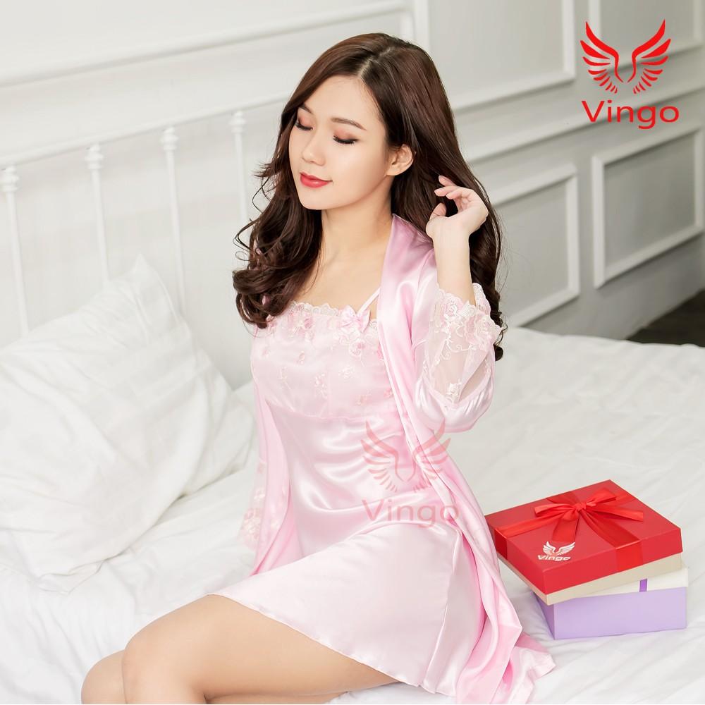 Váy ngủ lụa kèm áo choàng cao cấp thương hiệu Vingo Việt Nam - 3297056 , 962163219 , 322_962163219 , 432000 , Vay-ngu-lua-kem-ao-choang-cao-cap-thuong-hieu-Vingo-Viet-Nam-322_962163219 , shopee.vn , Váy ngủ lụa kèm áo choàng cao cấp thương hiệu Vingo Việt Nam