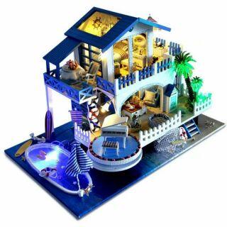 Mô hình nhà gỗ lắp ráp DIY – Kèm mica và nhạc – TB8 Blue Melody