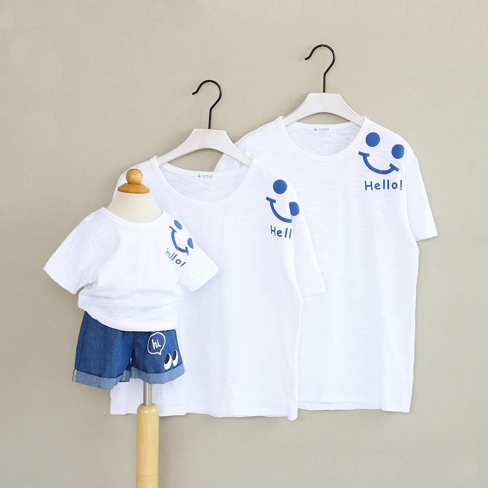Áo Thun Gia Đình Mặt Cười Logo Đáng Yêu