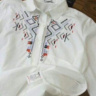 áo sơ mi thêu thổ cẩm cổ hoa văn họa tiết