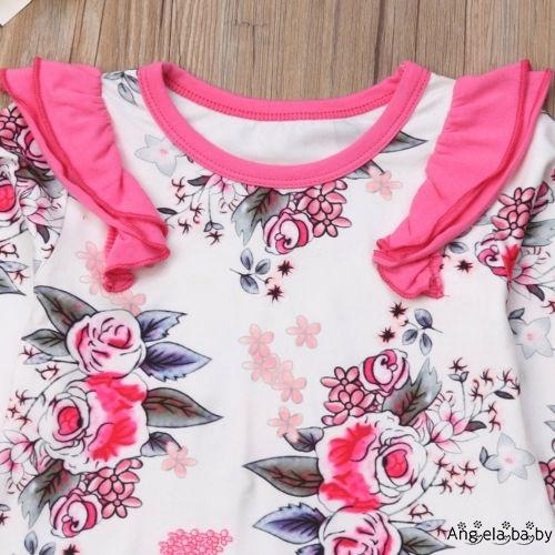 Set quần yếm + quần dài + băng đô in hoa dễ thương cho bé gái