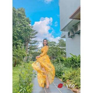 Sét Váy Maxi Hoa Vàng Kèm Tuban