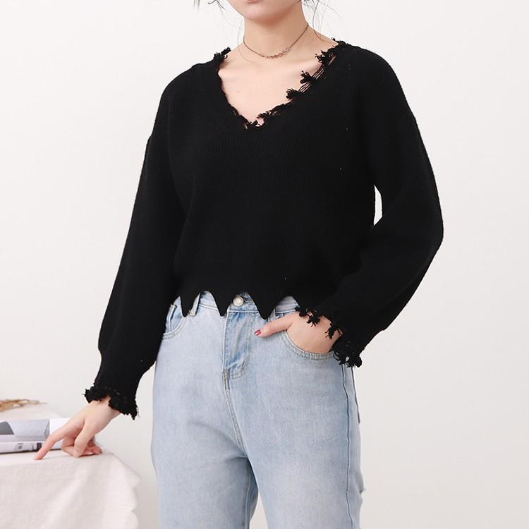 A@4 Korean temperament tops spring fashion wild black loose thin sweater fashion